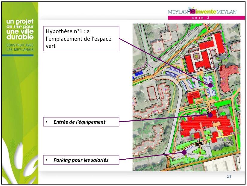 """Notez l'espace vert avec 27 places de parking ainsi que les places de parking actuelles également dessinées. A comparer avec la solution """"Allez vous couchez..."""" proposée par la mairie..."""