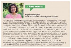 Chaza Hanna, adjoint déléguée à l'urbanisme et à l'aménagement urbain. Meylan, ma ville, N°121, p.9