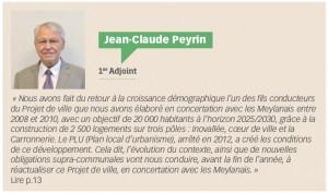 Jean-Claude Peyrin, 1er Adjoint,  Meylan, ma ville, N°121, p.9