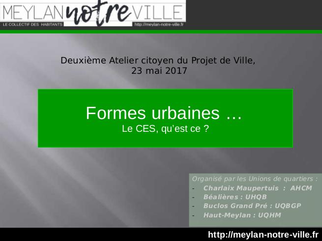 """Focus : """"Formes urbaines ... Le CES, qu'est ce ?"""""""