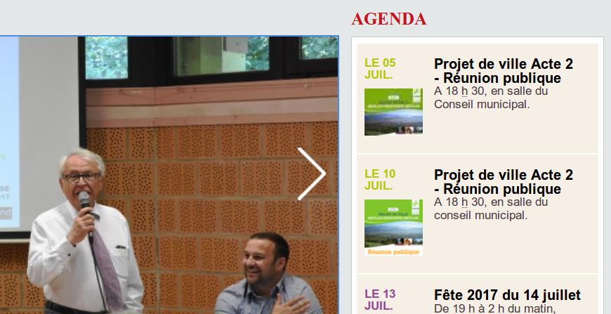 Agenda de la mairie de Meylan. Réunion le 5 et 10 juillet.