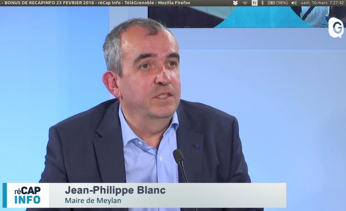 Jean-Philippe Blanc, Maire de Meylan, réCAP INFO, 23 Février Télé Grenoble